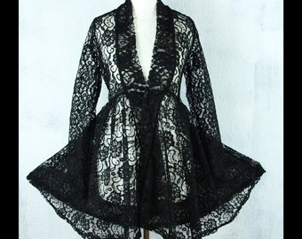 a4107573f0a277 S M Victorian Gothic Cardigan Jacke Spitze Vintage Second Hand Upcycling  #LOVE
