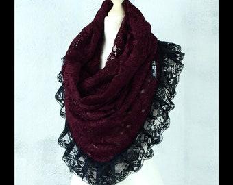 e638a057c82b71 NOELA WINE Hoodie Kragen Tuch Loop Spitze Steampunk Gothic I Vintage  Handmade Second Hand Shop #LOVE