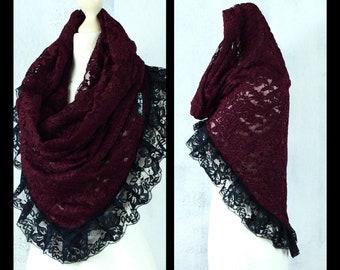 NOELA WINE Hoodie Collar Cloth Loop Top Steampunk Gothic Vintage Handmade Second Hand Shop