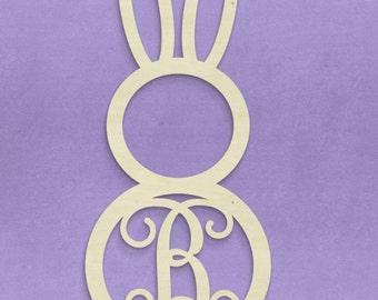 "Easter Bunny Monogram, Unfinished, Wooden, 22.5"""