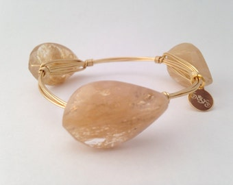 Twisted Quartz Wire Wrapped Gold Bangle
