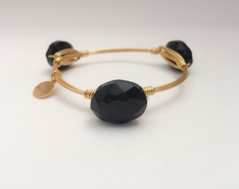 Oval Black Crystal Wire Wrapped Gold Bangle