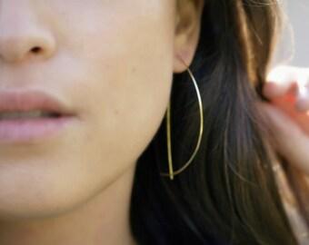 Hoop Earrings, Arc Earrings, Thin Gold Hoops, Large Hoop Earrings, Delicate Earrings, Threader Earrings, Geometric Earrings