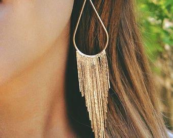 long gold fringe earrings, tassel earrings, long gold chandelier earrings, sterling silver or 14k gold filled earwires