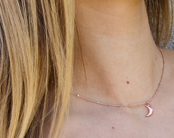 Dainty Crescent Moon Necklace, Rose Gold Moon Necklace, Simple Necklace, 14k Gold Fill, Sterling Silver, Rose Gold
