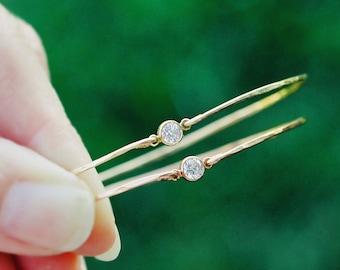 CZ Diamond Bangle Bracelet - Bridal Bangle - Delicate Bangle Bracelet - Rose Gold or Gold Layering Bangle - Bridesmaid Bangle