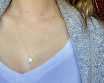 Freshwater One Pearl Necklace, Bridesmaids Gift, Delicate Layering Necklace in Gold or Silver