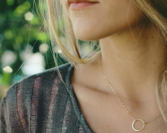 eternity necklace, eternity necklace gold, gold circle necklace, gold necklace, silver circle