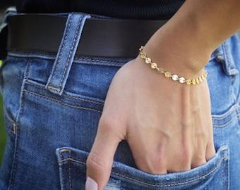 64a7d2d0f4f Dainty Chain Bracelet, Gold Coin Bracelet, Thin Gold Bracelet, Delicate  Bracelet for Women, Dainty Layering Bracelet