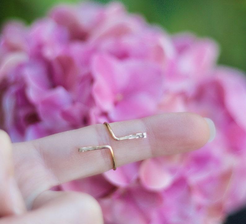 Adjustable Gold Ring Gold Ring Bar Ring Modern Ring Linear Ring Spike Ring