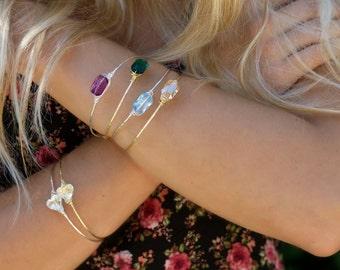 gold bangle bracelet, bridesmaid gift, blue bangle bracelet, bridesmaid jewelry, march birthstone, emerald bracelet