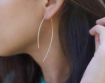 Arc Large Hoop Earrings, Thin Hoop Earrings, Delicate Hoop Earrings, Hook Earrings
