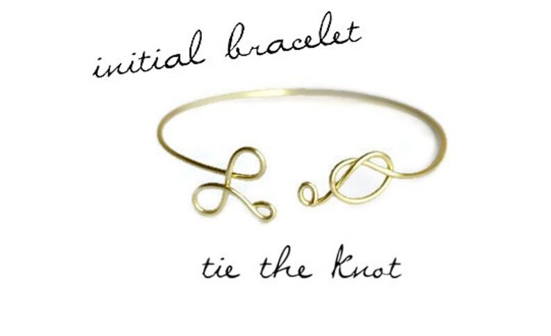 Bridesmaids Bracelet Tie The Knot Cuff Eternity Jewelry Bridal Jewelry Personalized Bracelet Knot Bracelet Initial Bangle Bracelet