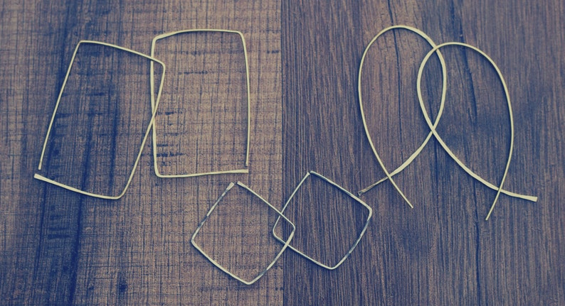 Inverted Hoops Open Hoop Earrings Rectangle Hoop Earring image 0