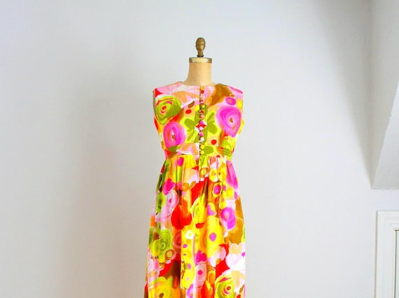 e795c96f4e 60s neon poppy cotton maxi dress