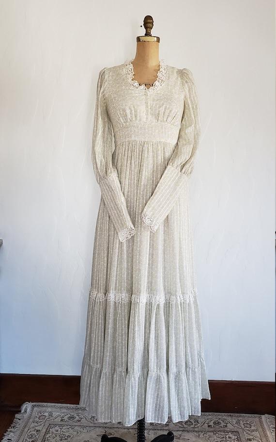 70s Gunne Sax pastel floral prairie dress   M - image 2