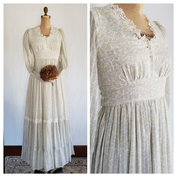 70s Gunne Sax pastel floral prairie dress   M - image 1