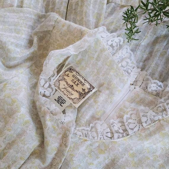 70s Gunne Sax pastel floral prairie dress   M - image 10