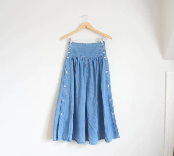 80s button panel denim midi skirt