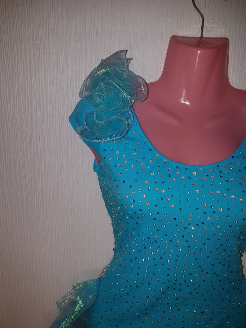 CRYSTAL stretch Turquoise Silver lycra pole DANCE lyrical gymnastic ballet tap modern Costume *Small*  uk 8-10
