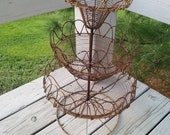 Rusty 3 Tier Wire Basket with Round Pedestal Base Vintage Farmhouse Decor