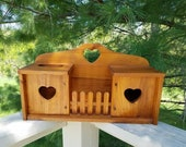 Wood Cabinet with Heart Cut Outs & Fence Tissue Holder