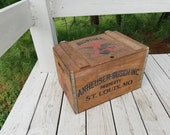 Anheuser Busch 1876 - 1976 Wood Beer Crate 100 Year Anniversary Crate / Wood Beer Storage Crate