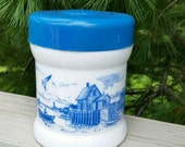 Delft Blue White Nautical Cigar Humidor White Milk Glass with Blue Rubber Lid Humidor, Delft Humidor
