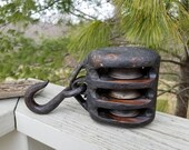 Antique Triple Pulley Wood Iron Grungy Rustic Farmhouse Decor