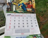 1955 Hall's Esso Servicenter Wall Calendar Lake City, Tennessee Vintage Auto Advertising
