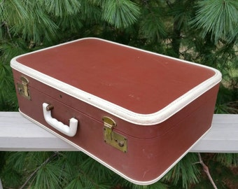 Brown Suitcase with White Leather Trim Vintage Storage