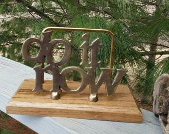 Do It Now Brass & Wood Letter Holder Desk Organizer
