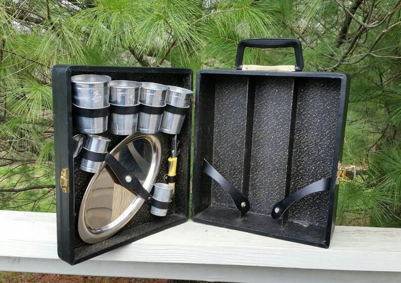 Portable Travel Bar In Black Suitcase Retro Bar Ware Etsy