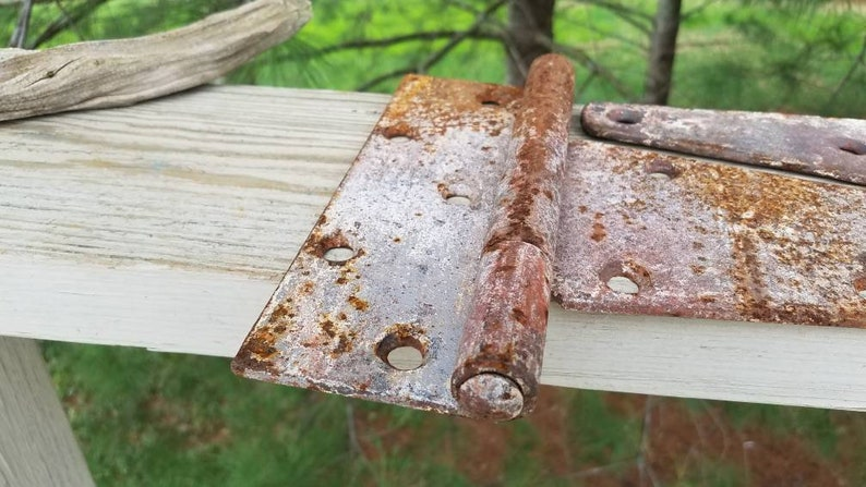 Large Door Strap Hinges Chipped Paint /& Rusty Set of 2 Rustic Hardware #9