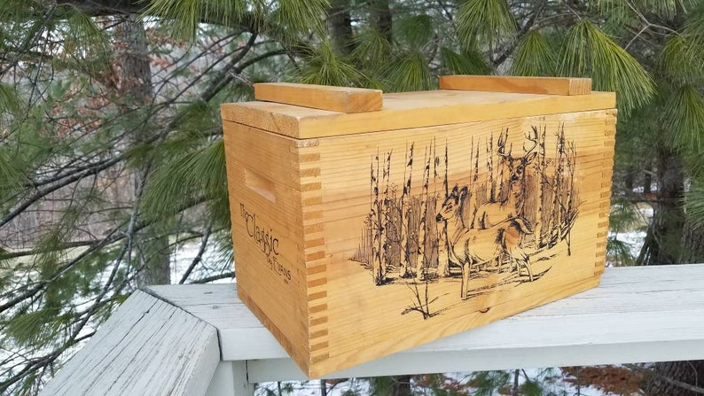 1994 The Classic By Evans Wood Finger Jointed Ammo Crate With Wildlife Scenes