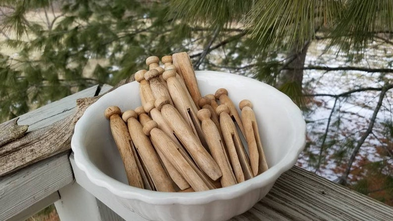 Round Wood Clothespin Set Of 24 Vintage Clothes Hangers Round Tops