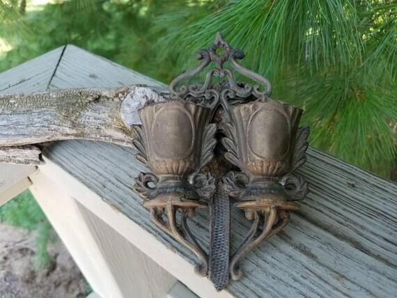 Brass Double Urn Match Safe Wall Mount Ornate Match Holder Fireplace Decor