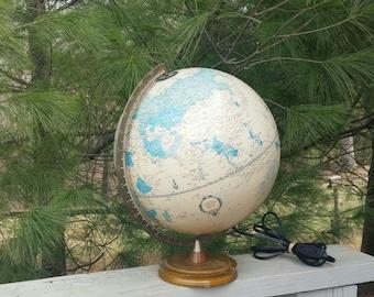 George F Cram Illuminated World Globe  Vintage Home Decor