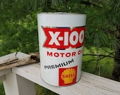 1960's X-100 Premium Motor Oil 5 Quart Can White Red & Yellow