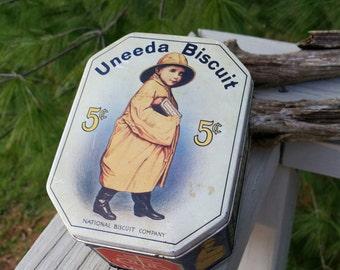 UNEEDA Biscuit Tin / National Biscuit Company Uneeda Biscuit Vintage Reproduction Litho Tin #1207