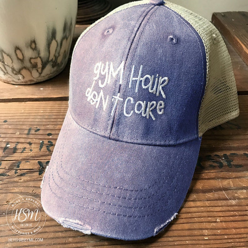 e4aefd5510b26 Gym Hair Don t Care Hat Distressed Hat Summer Hat Ball