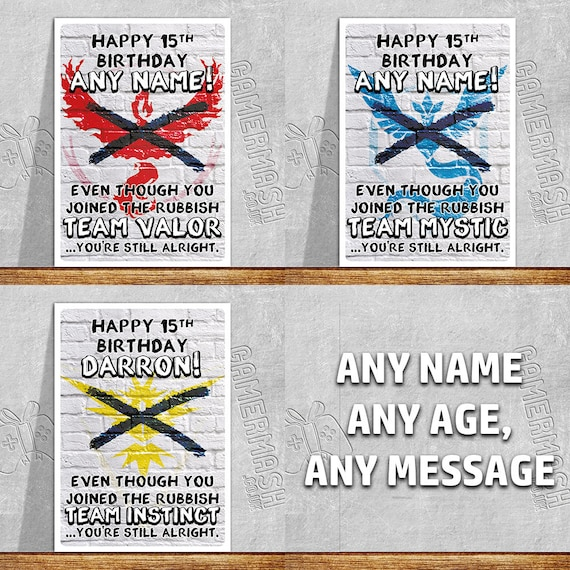 Personalized Birthday Card Inspired By Pokemon Go Teams 3