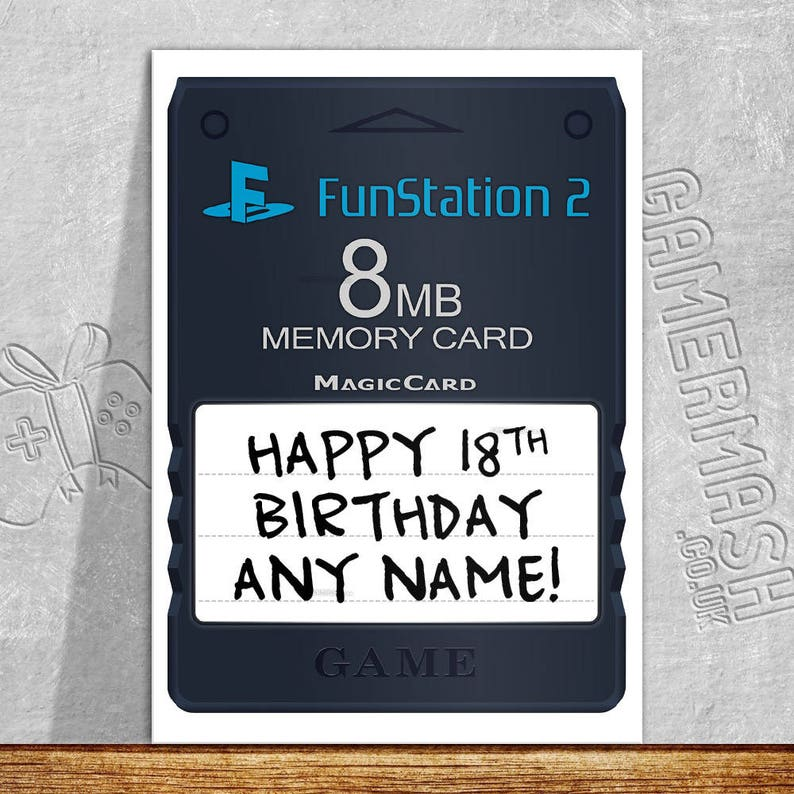 PERSONALISED BIRTHDAY CARD Memory Card 2 Video Game Themed
