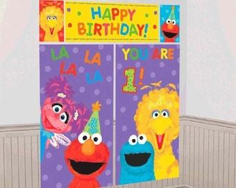 Sesame Street 1st Birthday Giant Scene Setter Wall Decorating Kit