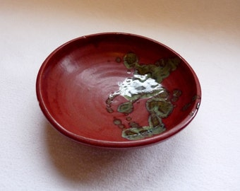 Red Bowl with Green Accents