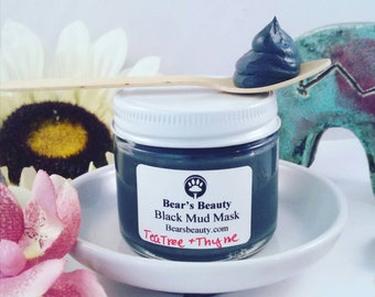 Carbon Detox Mud Mask 60ml, Bentonite + Charcoal, Acne Mud Mask, Bentonite Clay Mask, Dries , Handmade Skincare, Naturally Preserved, BBB