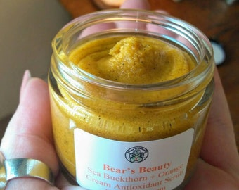 Orange Cream + Sea Buckthorn Facial Scrub 2oz, Brightening Face Scrub, Gentle Hyperpigmentation Scrub, Acne Scar Scrub