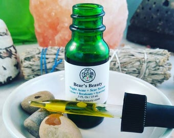 NIGHT ACNE + SCAR | Serum | Acne Scar + Post Acne Scars + Won't Clog Pores | Relaxing Essential Oil Blend | Acne Serum | Breakouts