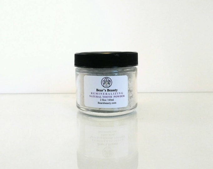 Featured listing image: Peppermint Remineralizing Tooth Powder 2oz, Remineralizing Natural Tooth Powder, Bentonite + Stevia + Essential Oils