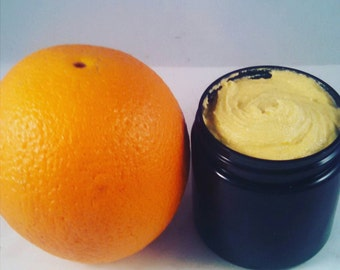 ORANGE CREAM SCRUB | Sea Buckthorn Face Scrub | All Skin Types | Face Scrub | Face Polish | Exfoliate | Organic | Polish | Violet Glass Jar